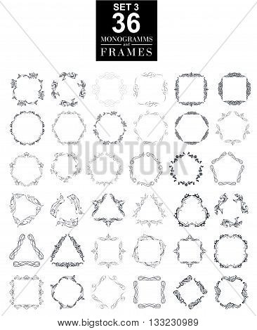 Set of elegant monogram design. Vector  linear frame and monogram illustration. Trendy linear monogram and linear frame. Monogram set