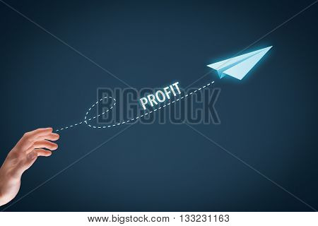 Increase profit concept. Businessman plan profit acceleration and growth represented by growing line and paper plane.