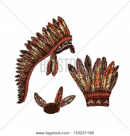 Set of 2 colored hand drawing ink traditional indian headdress. Elements in native style for greeting card and postcard, henna and tattoo design. Authentic American Indians headdress.