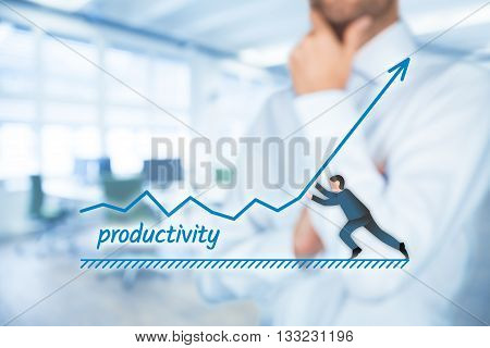 Manager (businessman coach leadership) want to increase company productivity.