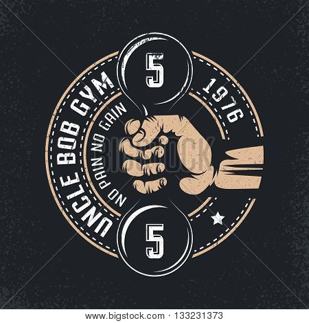 Logo for Uncle Bob's gym or any other - just change the text. Hand with dumbbells in vintage style. Grunge texture on separate layers.