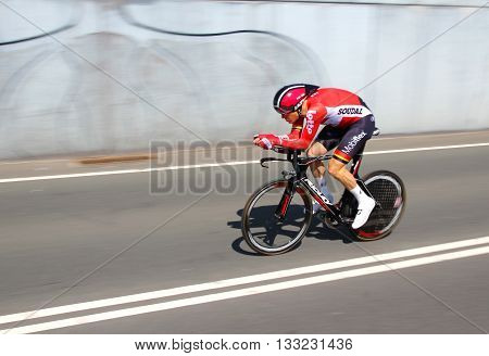 APELDOORN, NETHERLANDS-MAY 6 2016: Lars Bak of pro cycling team Lotto-Soudal during the Giro d'Italia prologue time trial.