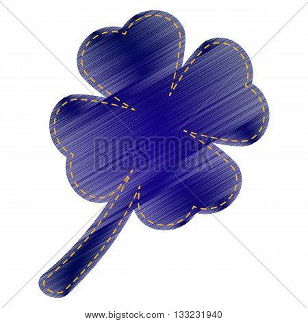 Leaf clover sign. Jeans style icon on white background.