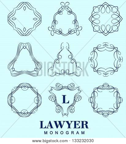 Set of elegant monogram design. Vector  linear frame and monogram illustration. Trendy linear monogram and linear frame for justic lawyer, boutique or hotel