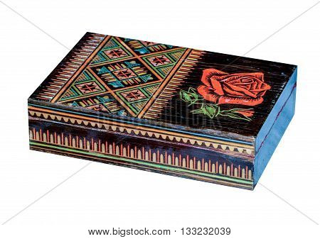 Wooden old box in ukrainian folk style isolated