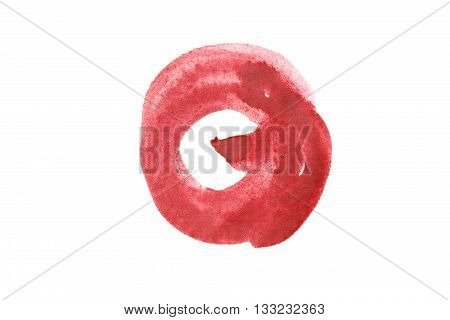 Red paint blotch isolated on white background