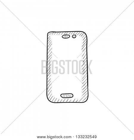 Mobile phone vector sketch icon isolated on background. Hand drawn Mobile phone icon. Mobile phone sketch icon for infographic, website or app.
