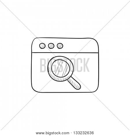 Browser window with magnifying glass vector sketch icon isolated on background. Hand drawn Browser window with magnifying glass icon. Browser window sketch icon for infographic, website or app.
