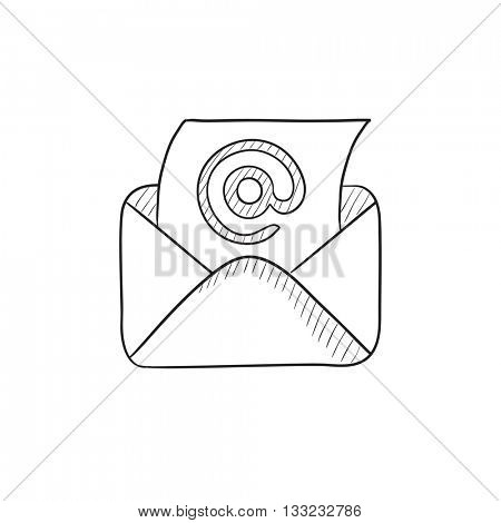 Email envelope with paper sheet vector sketch icon isolated on background. Hand drawn Email envelope with paper sheet icon. Email envelope with paper sheet sketch icon for infographic, website or app.