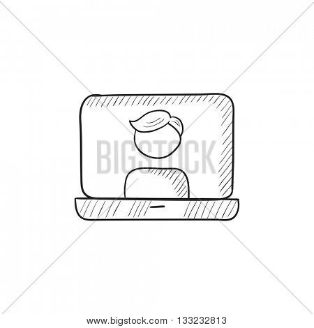 Laptop with man on screen vector sketch icon isolated on background. Hand drawn Laptop with man on screen icon. Laptop with man on screen sketch icon for infographic, website or app.