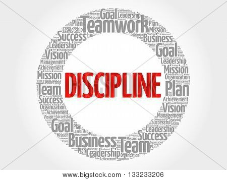 DISCIPLINE circle word cloud business concept, presentation background