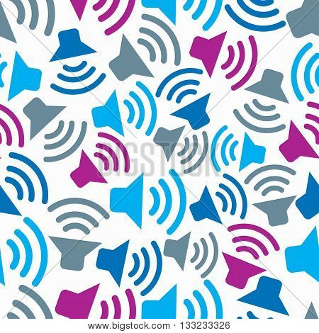 Continual background with colorful podcast symbols. Seamless vector pattern with information transmitters. Amplifier devices.