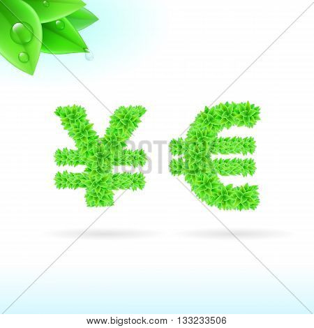 Sans serif font with green leaf decoration on white background. Yen and euro signs