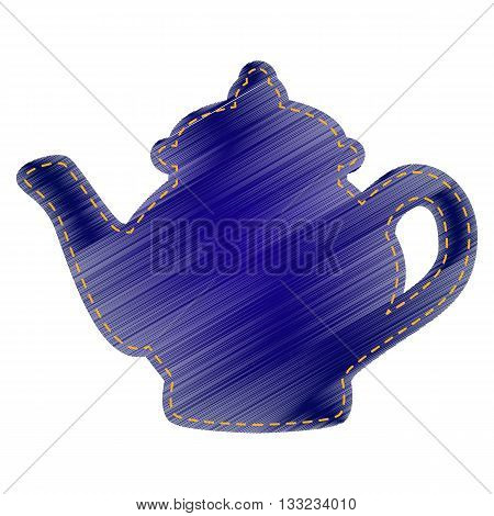 Tea maker sign. Jeans style icon on white background.