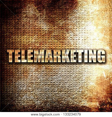 telemarketing, 3D rendering, metal text on rust background