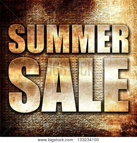 summer sale, 3D rendering, metal text on rust background