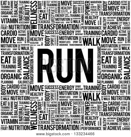 RUN word cloud health concept, presentation background