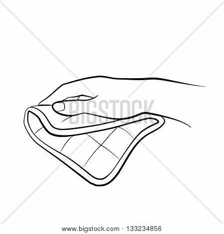 Woman hand holding potholder. Kitchen tools. Outline cooking gesture. Cooking hand isolated on white background.
