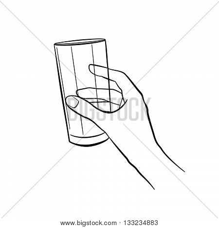 Woman hand holding glass. Kitchen tools. Outline cooking gesture. Cooking hand isolated on white background.