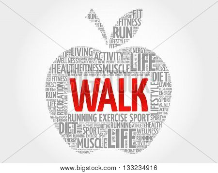 WALK apple word cloud health concept, presentation background