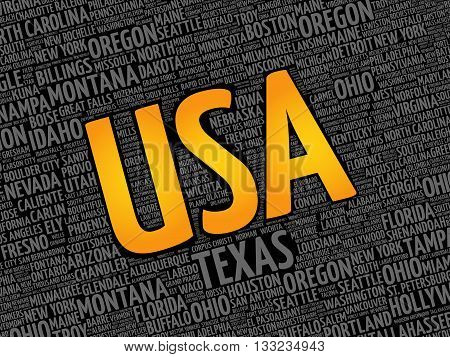 USA cities word cloud concept background, presentation background