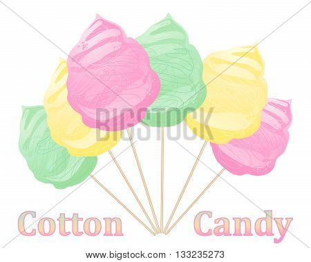 an illustration of pink yellow and green cotton candy on wooden sticks on a white background