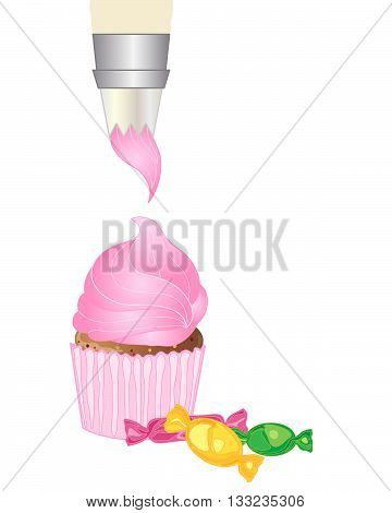 an illustration of an icing bag piping pink icing on to a cake with some colorful wrapped candy on a white background