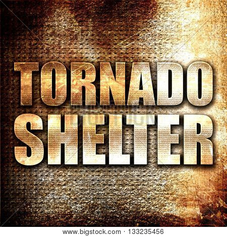tornado shelter, 3D rendering, metal text on rust background