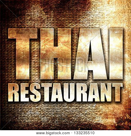 thai restaurant, 3D rendering, metal text on rust background