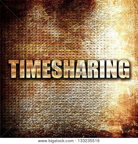 timesharing, 3D rendering, metal text on rust background