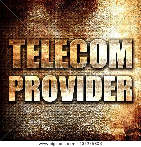 telecom provider, 3D rendering, metal text on rust background