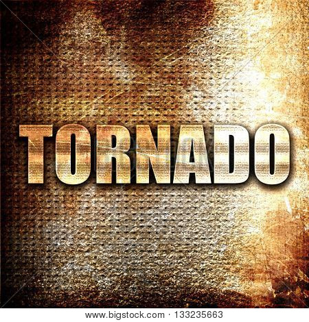 tornado, 3D rendering, metal text on rust background