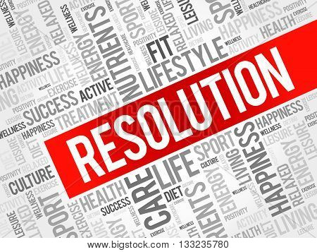 RESOLUTION word cloud health concept, presentation background