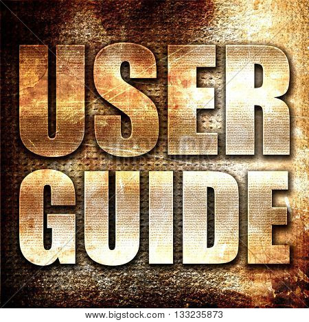 user guide, 3D rendering, metal text on rust background