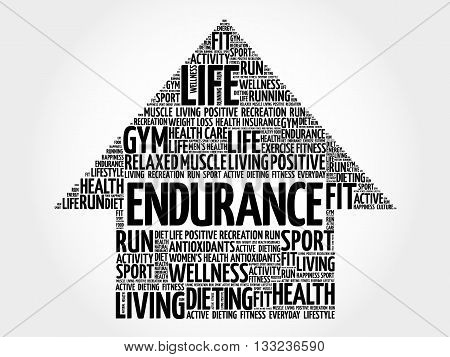 ENDURANCE arrow word cloud health concept, presentation background