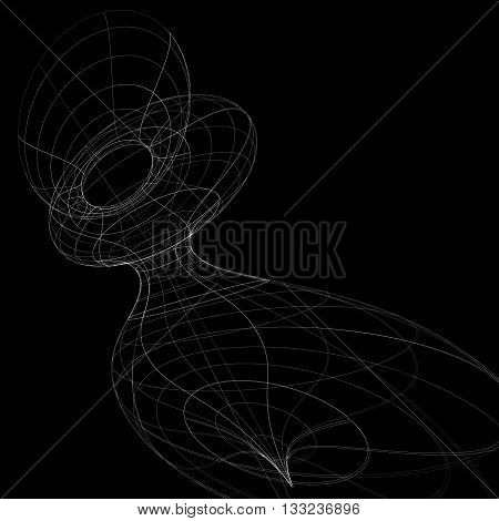 Geometric dark monochrome lattice engineering backdrop contemporary complex 3d abstraction with lines mesh. Netting background best for use in graphic projects.