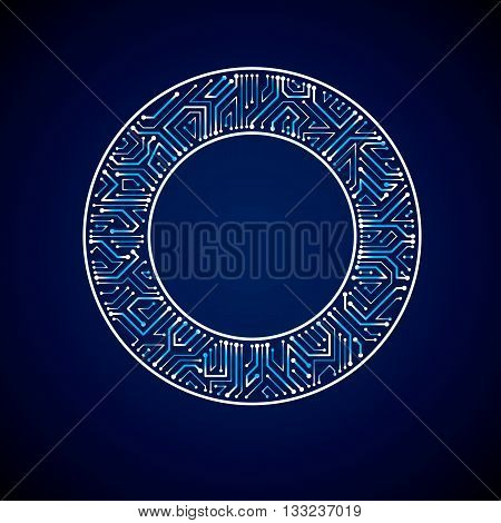 Round Luminescent Blue Circuit Board With Electronic Components Of Technology Device. Computer Mothe
