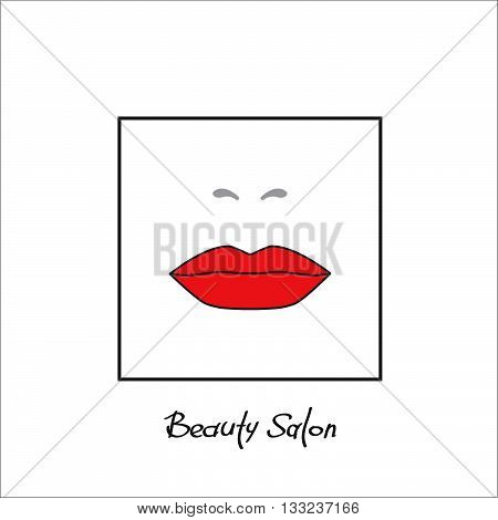 Sample logo for a beauty salon, beauty and cosmetics product, lipstick label, cosmetology procedures, makeup stylist. Beautiful red female lips isolated on a white background