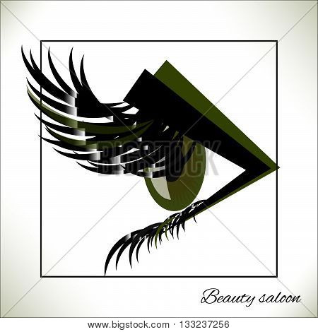 Vector green eye with thick lashes. Hand drawing, fashion, beauty, sketch