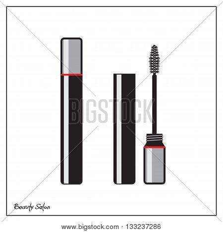 Black mascara on a white background. Mascara brush simple vector illustration