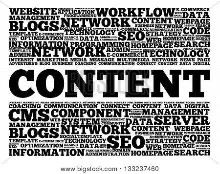 CONTENT word cloud business concept, presentation background