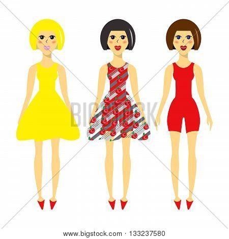 Cartoon model in different dresses, elegant fashion model in flat style