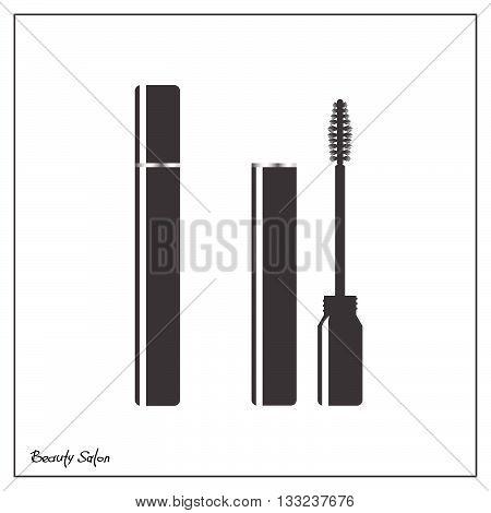 Black mascara on a white background. Mascara brush, simple vector illustration