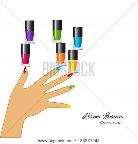 Nail polish design banner. Multi-colored nail polish