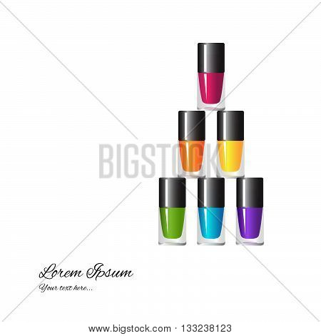 Set of colored nail polish on a white background