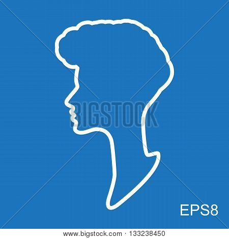 Female head vector silhouette or head profile. Simple female head icon or face silhouette