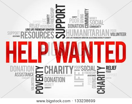 Help Wanted word cloud concept, presentation background