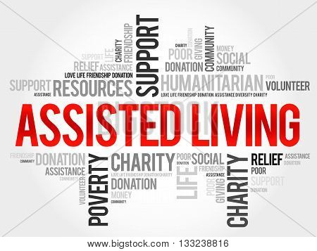 Assisted Living word cloud concept, presentation background