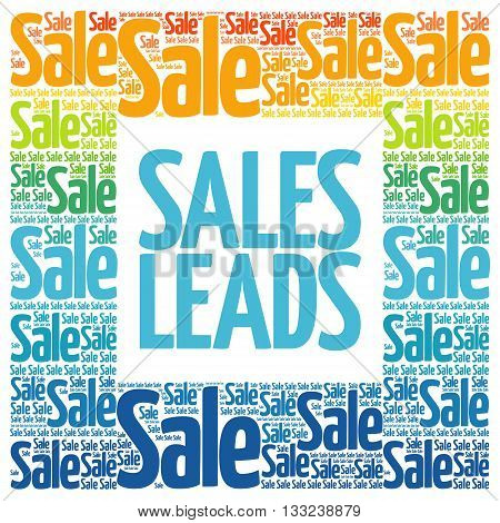 Sales Leads words cloud business concept background