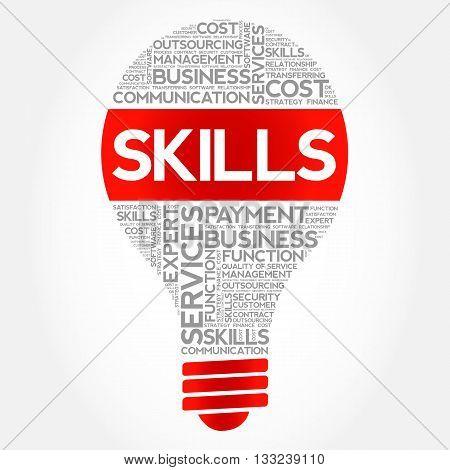 Skills bulb word cloud business concept, presentation background